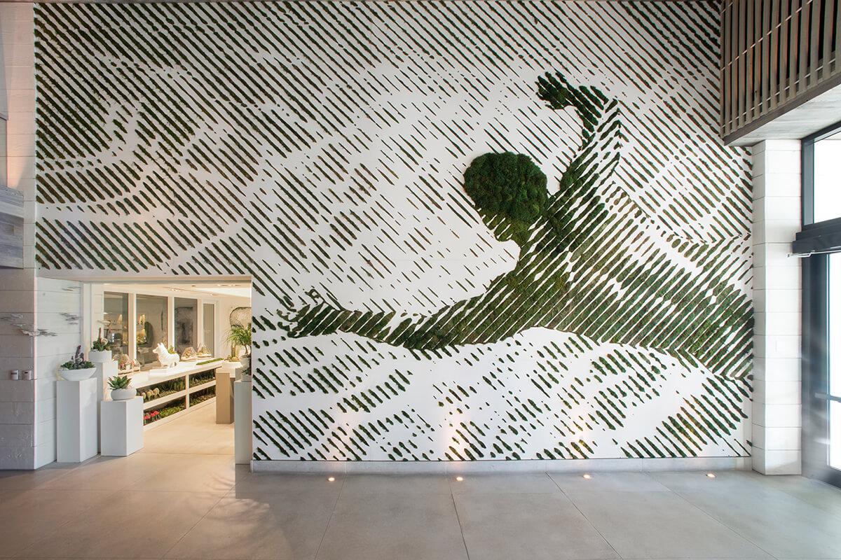moss mural at 1 hotel lobby south beach miami beach florida