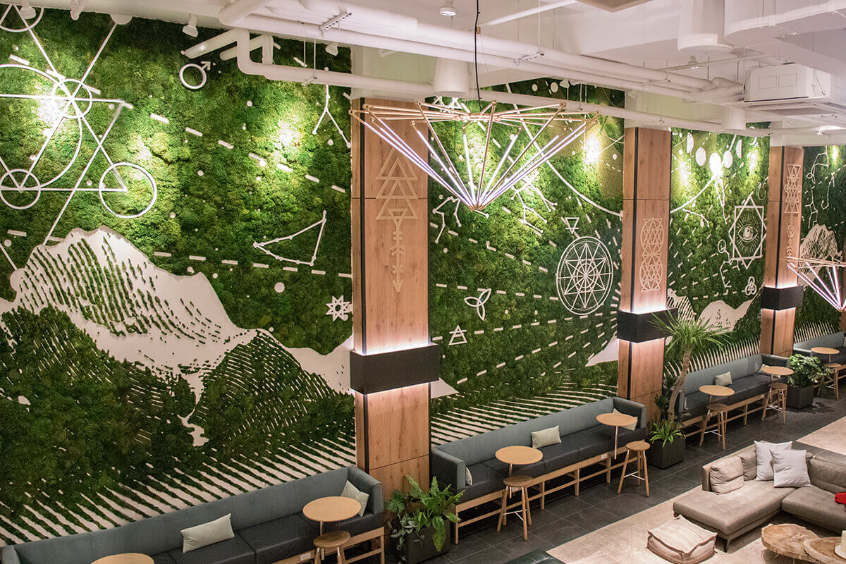 indoor moss mural in new york's assemblage nomad